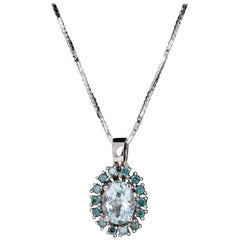 2.06 Carat Aquamarine and Blue Diamond White Gold Pendant