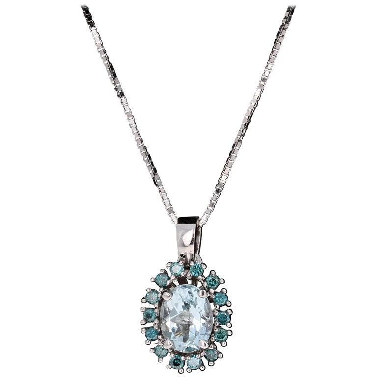 2.06 Carat Aquamarine and Blue Diamond White Gold Pendant