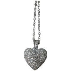 14 Karat White Gold Diamond Puffed Heart