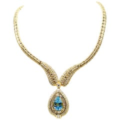 Stunning Aquamarine Diamond Gold Necklace