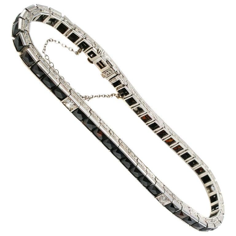 Art Deco Diamond Onyx Platinum Line Bracelet For Sale