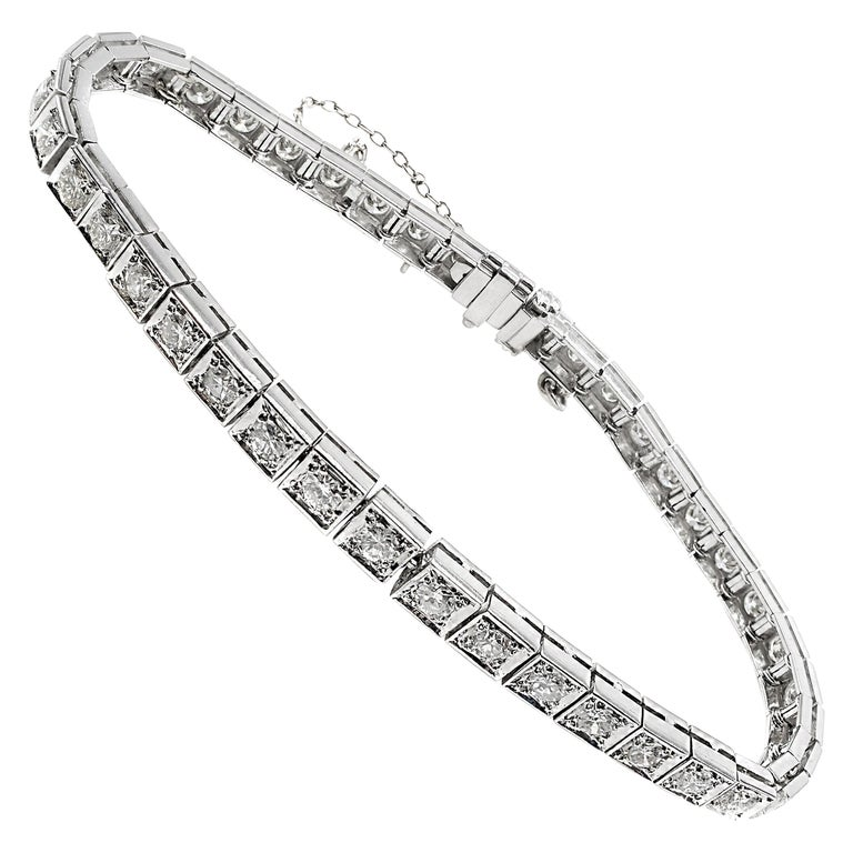 1950s Diamond Platinum Straight Line Bracelet