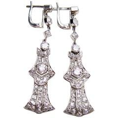 Art Deco 3.51 Carat Diamond and Platinum Dangle Earrings