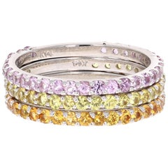 2.82 Carat Round Cut Sapphire White Gold Stackable Bands