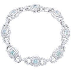 David Rosenberg 2.48 ct Radiant Fancy Light Green GIA Platinum Diamond Bracelet