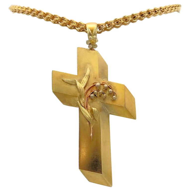 14 Karat Yellow Gold Antique Cross Pendant and Chain For Sale