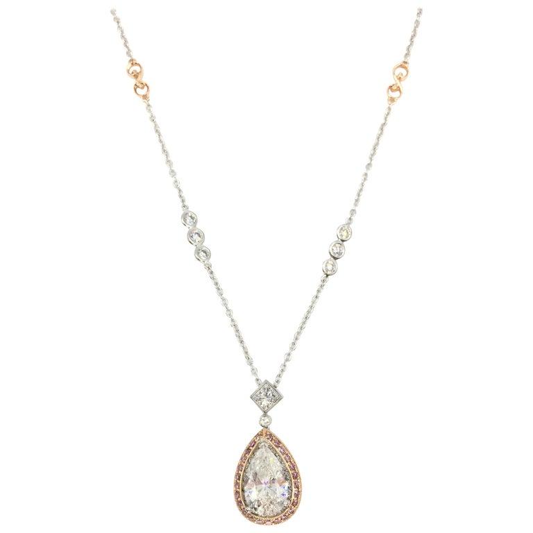 3.01 Carat Pear Shape Diamond Jack Kelege Pendant Necklace