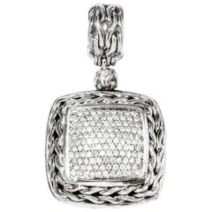 John Hardy Sterling Silver and Diamond Pendant 0.85 Carat