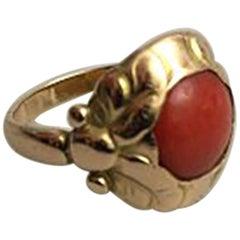 Georg Jensen 14 Karat Gold Ring No 111 with Red Stone