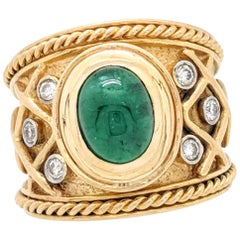 18 Karat Yellow Gold Cabochon Emerald and Diamond Ring