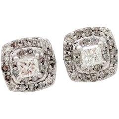 14 Karat White Gold Double Halo Diamond Stud Earrings .88 Carat