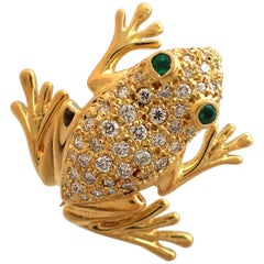Diamond and Emerald Frog Pin in 18 Karat Yellow Gold