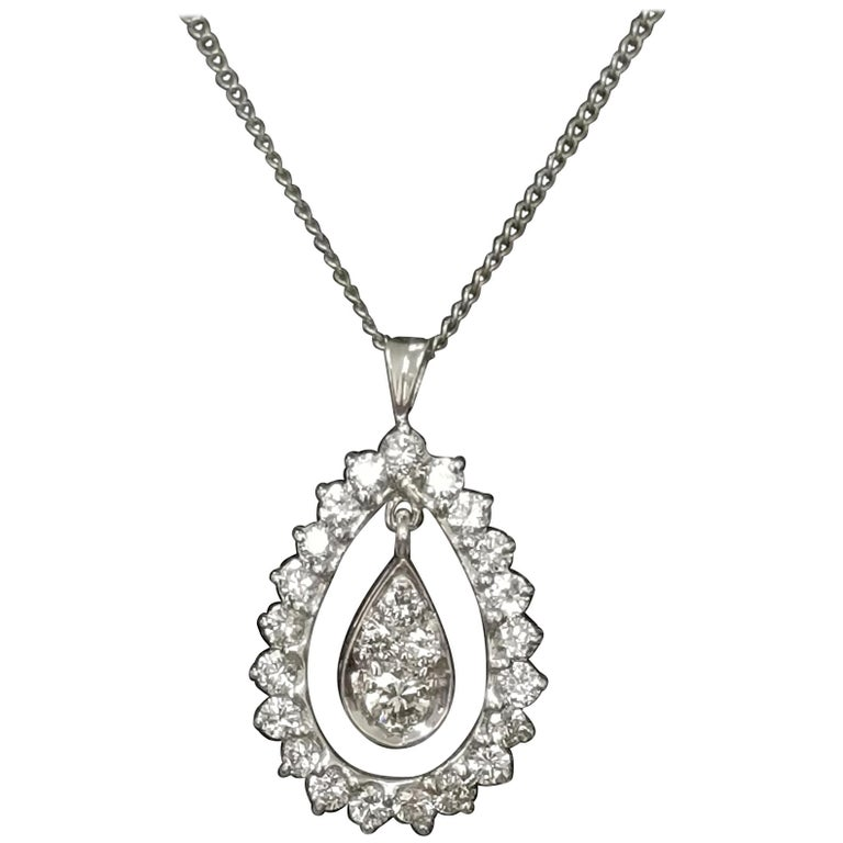 14 Karat White Gold Pear Shape Diamond Pendant