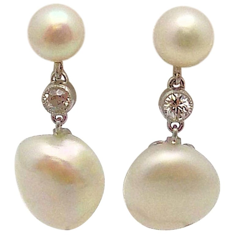 Pair of Antique Platinum Pearl and Diamond Pendant Earrings For Sale