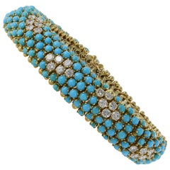 18 Karat Yellow Gold Turquoise and Diamond Snake Bracelet