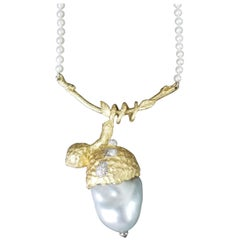 18 Karat Yellow Gold and South Sea Biwa Pearl Pendant