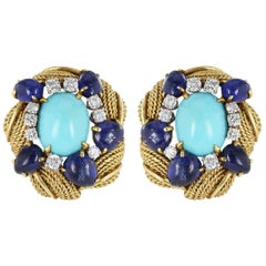 18 Karat Yellow Gold David Webb Turquoise Earrings