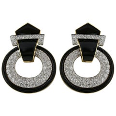 David Webb Black Enamel and Diamond Earrings