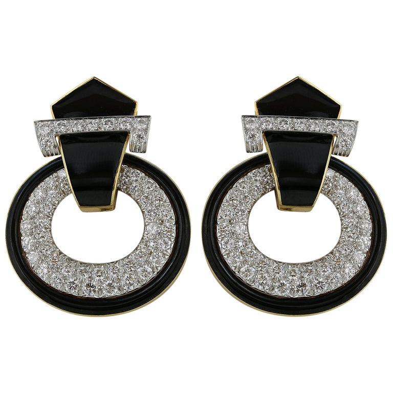 David Webb Black Enamel and Diamond Earrings For Sale