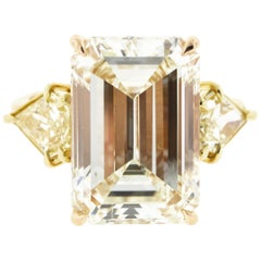 10 Carat Vintage Emerald Cut Diamond Ring with Side Trillions