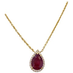 Unheated Burma Ruby Pear Shape and Diamond Necklace in 18 Karat with GIA Report