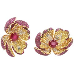 Amazing Red Ruby Yellow Sapphire Diamond Flower Gold Earrings Water Drop