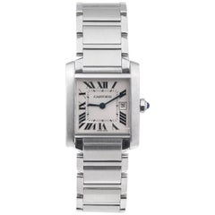 Cartier Stainless Steel Mid-Size Tank Francaise Quartz Wristwatch