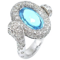 Flippable 5.02 Carat Blue Topaz White and Black Diamond Gold Ring