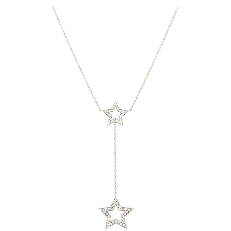 Tiffany & Co. Platinum Diamond Set Star Necklace