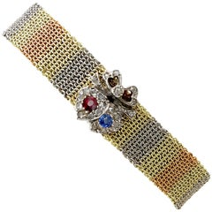 1890s Antique Victorian Ruby Sapphire Diamond and Gold Bracelet