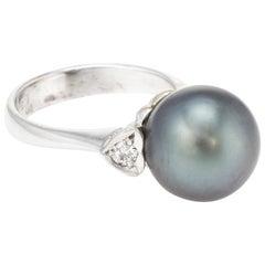Cultured Tahitian Black Pearl Diamond Heart Ring