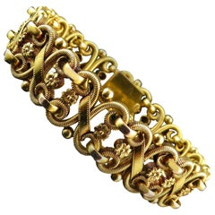 Antique French Gold Bracelet Cuff, Ornate Scroll Links