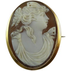 Antique Victorian Cameo Brooch, Stamped 9 Carat
