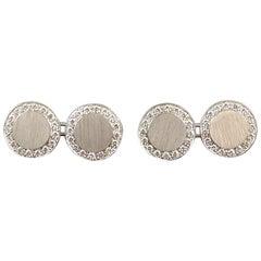 Modern Art Deco Style 1.0 Carat Diamond and White Gold Cufflinks