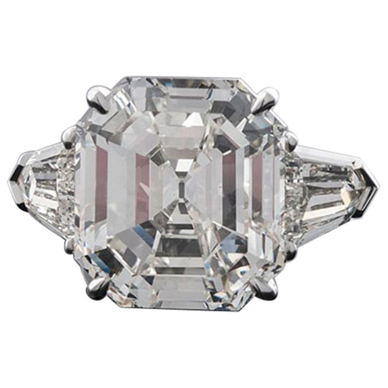 14.03 Carat Emerald Cut Three-Stone Diamond Ring For Sale