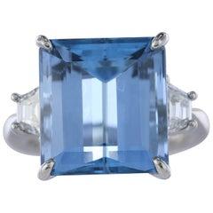 10.43 Carat Emerald Cut Aquamarine and Diamond Ring
