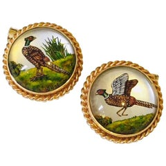 14 Karat Yellow Gold Pheasant Bird Cufflinks