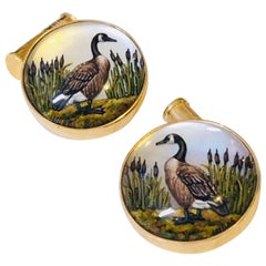 14 Karat Yellow Gold Canadian Geese Cufflinks