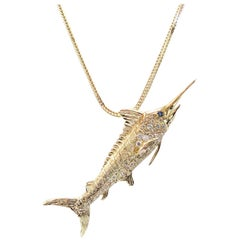 Estate Marlin Pendant with Diamonds and Sapphire Eye, 14 Karat Yellow Gold