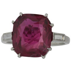 Platinum GIA Certified 9.13 Carat Ruby and Diamond Ring