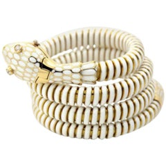 White Enamel Snake Cuff Bracelet or Watch