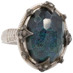 Armenta Old World Australian Black Opal and Crivelli Ring, Doublet Style 11858
