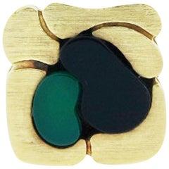 Modernist Design Inlay 18 Karat Ring