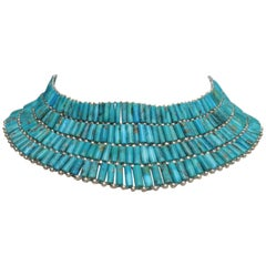 Turquoise and Sterling Silver Collar Necklace