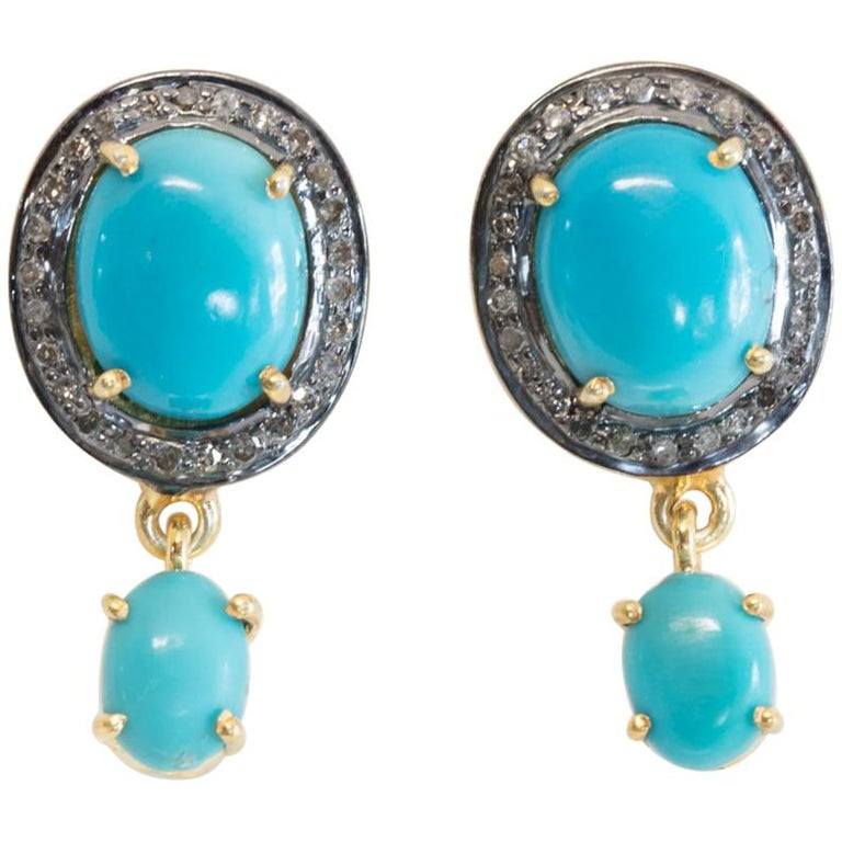 Turquoise and Diamond Stud Earrings