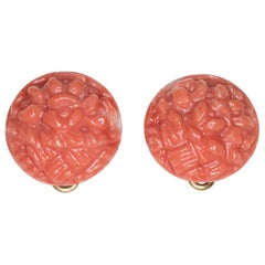 Carved Italian Coral Stud Earrings