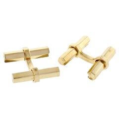 Cartier Interchangeable Hex Bar Gold Cufflinks