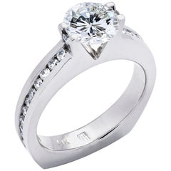 White Gold Ring with 1.51 Carat Diamond and 0.65 Carat in Accent Diamonds