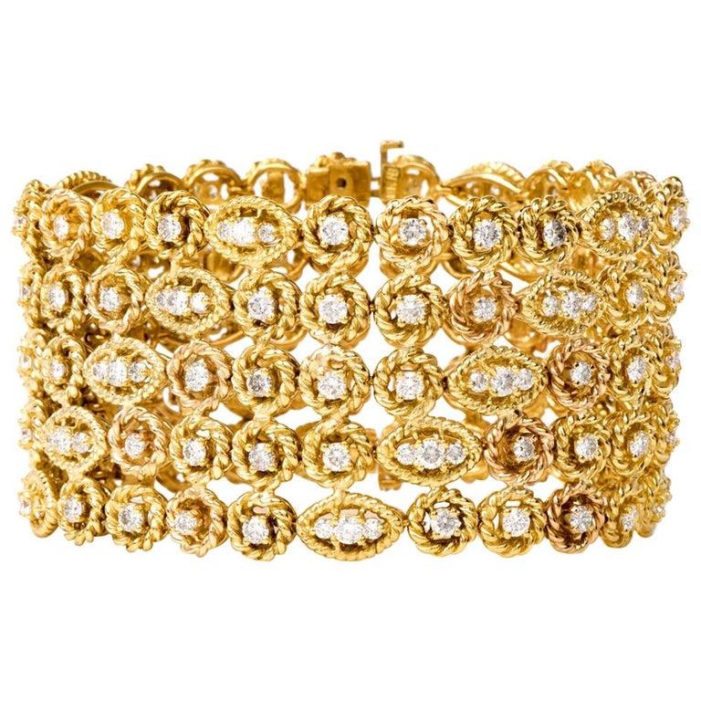 Hammerman Brothers Diamond Yellow Gold Wide Bracelet