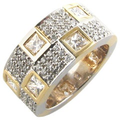 White Gold Band with 1.85 Carat Pave Diamonds and 1.60 Carat Yellow Diamonds